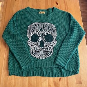 LF Crop Skull Sweater